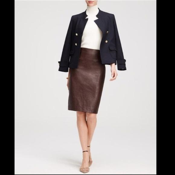 Ann Taylor Dresses & Skirts - Ann Taylor Cherry Brown Vegan Leather Midi Skirt
